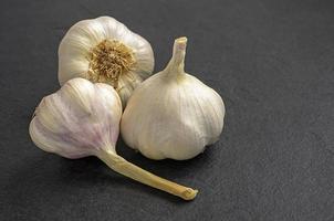 garlic on slate plate photo