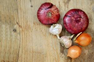 Red and bulb onions with whole organic garlic