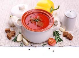 Tasty tomato soup and vegetables, isolated on white photo