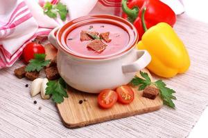 Tasty tomato soup and vegetables, close up photo