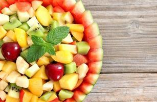 fruit salad in the bowl of watermelon
