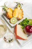 Fruit, cheese and wine