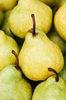 Green and yellow ripe pears background photo