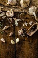 Domestic bio garlic - Czech, spices and fresh microgreens photo