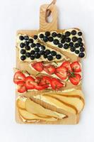 Sweet pizza with fruits