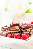 Chocolate raspberry squares photo