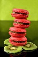 Raspberry macaroon stack photo