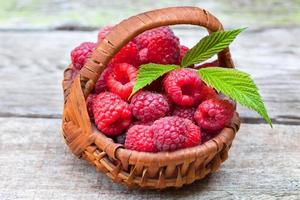 Fresh ripe raspberries photo