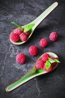 ripe raspberries photo