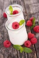 yogurt and raspberries