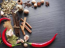 Spices on rocked table.