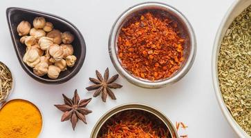 Spices for heath and cooking on white background.