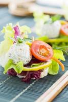 Healthy Rice Canape with Protein Cheese and Cherry Tomato photo