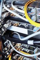 Telecommunication equipment in a datacenter. photo