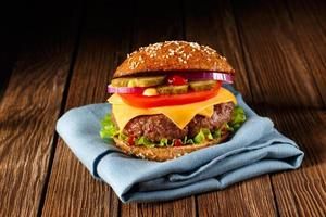 Burger with cheese close up.