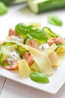 Fettuccine pasta with Salmon and zicchini