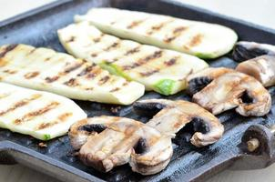 mushrooms and zucchini on the grill