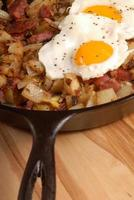 Corned beef hash and egg breakfast