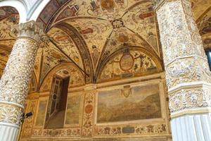 Frescoes decorating the courtyard Palazzo Vecchio. Florence