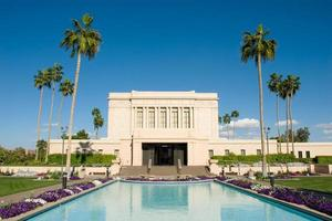 Mesa Arizona Temple with Reflection Pond and Blue Skies