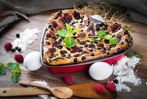 cazuela de queso con frambuesas