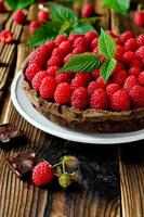 tarta de chocolate con frambuesas