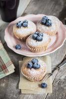 Homemade blueberry muffin with berries for a snack