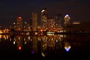 Tampa, Florida after sunset with reflections photo