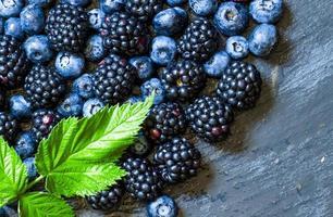 Blackberries, blueberries and raspberries photo