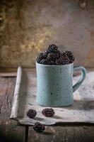 Mug of blueberries photo