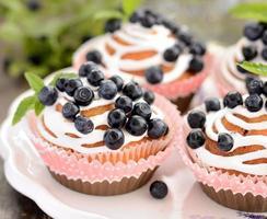 muffins de blueberry caseiros no suporte de cupcake de papel
