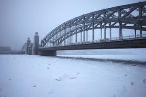 Peter the Great bridge in winter photo