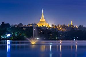 atmosphere of dusk at Shwedagon pagoda in Yangon, Myanmar