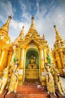 atmosphere of dusk at Shwedagon pagoda in Yangon, Myanmar photo