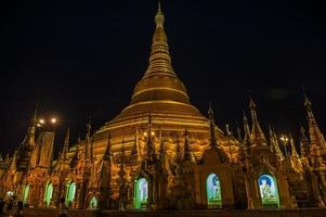 Shwedagon Pagoda at night photo