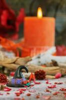 pumpkin on a background of dry plants and candles photo