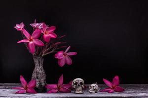 flower skull on wood