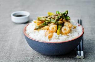 asparagus shrimp stir fry with rice photo