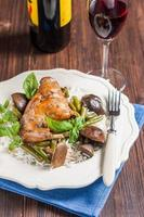 braised rabbit leg with mushrooms, green beans and basmati rice