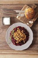 light breakfast of beets and chickpeas