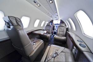 Private jet with leather seats