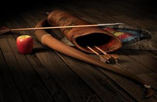 Archery set with a target and an apple on a wooden floor