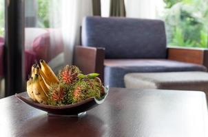 Thai fruits serve in a bowl