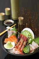 Sashimi set on table