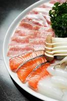 Raw fresh Salmon slice and premium beef
