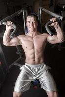 Young Man Doing Bench Presses