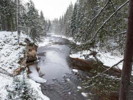 Frozen winter river landscape photo