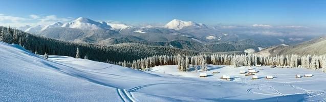 Morning winter mountain panorama landscape