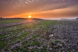 Plowed autumnal field landscape photo