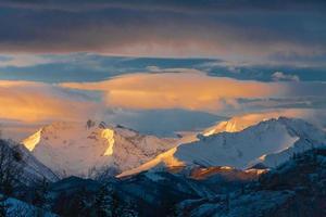 Mountain sunset winter